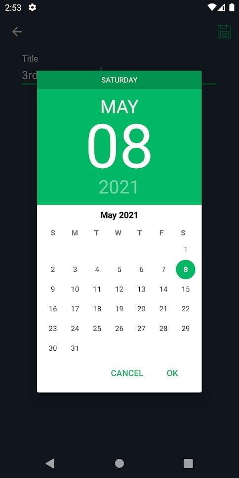 One Swipe Notes calendar